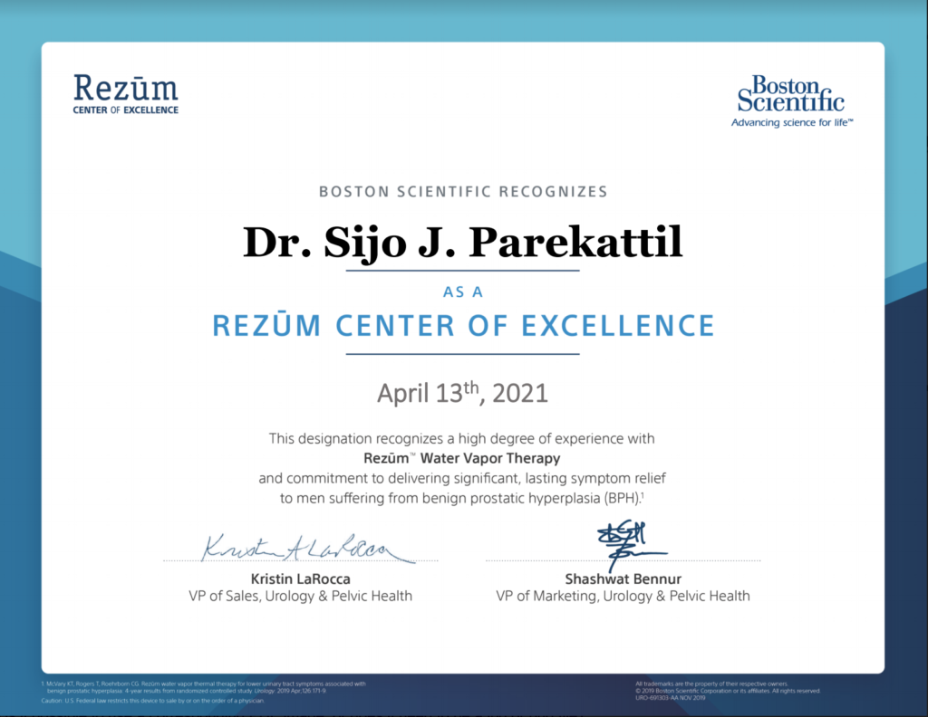 Certificate from Boston Scientific recognizing Dr. Sijo J. Parekattil and Avant Concierge Urology as a Rezum Center of Excellence